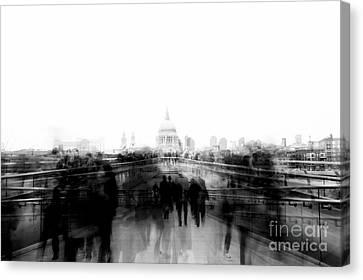 Black And White London Ghosts Canvas Print