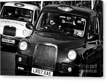 Black And White London Taxi Cabs Canvas Print by Andy Smy