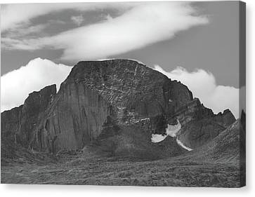 Canvas Print featuring the photograph Black And White Longs Peak Detail by Dan Sproul