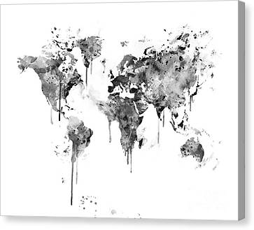 Black And White Map Canvas Print by Monn Print