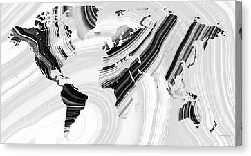 Black And White Marbled World Map - Sharon Cummings Canvas Print by Sharon Cummings