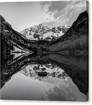 Black And White Maroon Bells Colorado Mountains Reflections Canvas Print