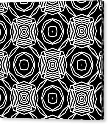 Black And White Modern Roses- Pattern Art By Linda Woods Canvas Print by Linda Woods