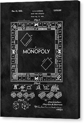 Black And White Monopoly Game Patent Canvas Print by Dan Sproul