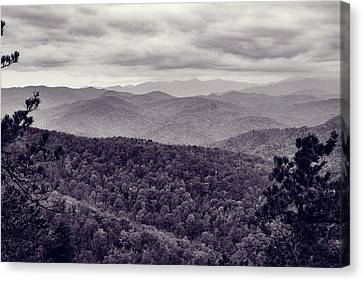 Black And White Mountains In Black Mountain, Nc Canvas Print by Mela Luna