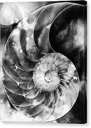 Black And White Nautilus Shell By Sharon Cummings Canvas Print by Sharon Cummings