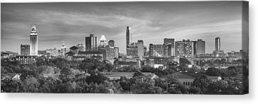 Frost Tower Canvas Print - Black And White Of The Austin, Texas Skyline 1 by Rob Greebon