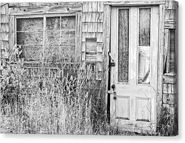 Black And White Old Building In Maine Canvas Print by Keith Webber Jr