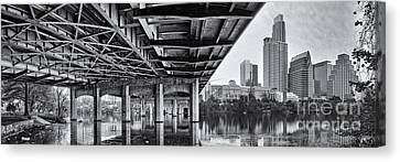 Black And White Panorama Of Downtown Austin Skyline Under The Bridge - Austin Texas  Canvas Print