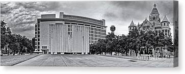Black And White Panorama Of Jfk Memorial And Old Red Museum - Dallas Texas Canvas Print by Silvio Ligutti