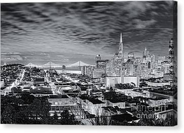 Black And White Panorama Of San Francisco Skyline And Oakland Bay Bridge From Ina Coolbrith Park  Canvas Print by Silvio Ligutti