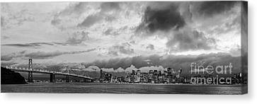 Black And White Panorama Of San Francisco Skyline And Oakland Bay Bridge From Treasure Island  Canvas Print by Silvio Ligutti
