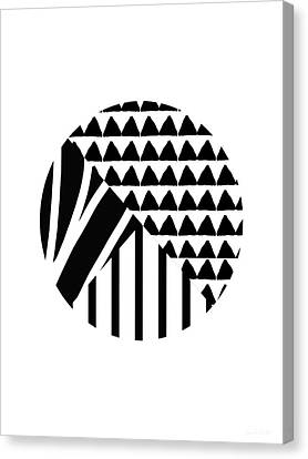 Black And White Patchwork Pattern Ball- Art By Linda Woods Canvas Print