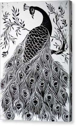 Black And White Peacock Canvas Print