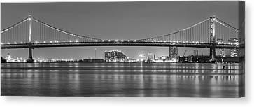 Black And White Philadelphia Panorama - Benjamin Franklin Bridge Canvas Print by Bill Cannon