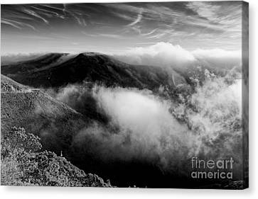 Black And White Photograph Of Fog Rising In The Marin Headlands - Sausalito Marin County California Canvas Print by Silvio Ligutti