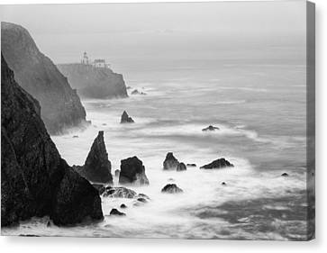 Black And White Photograph Of Point Bonita Lighthouse - Marin Headlands San Francisco California Canvas Print by Silvio Ligutti