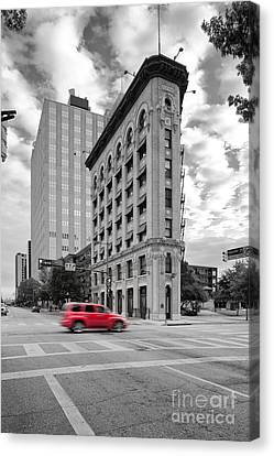Black And White Photograph Of The Flatiron Building In Downtown Fort Worth - Texas Canvas Print by Silvio Ligutti