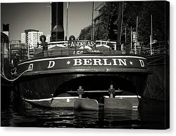 Black And White Photography - Berlin - Historischer Hafen Canvas Print by Alexander Voss