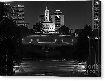 Capital Building In Nashville Tennessee Canvas Print - Black And White Photography Print Of The State Capital Building Of Nashville Tennessee At Night  by Jeremy Holmes