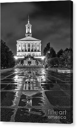 Capital Building In Nashville Tennessee Canvas Print - Black And White Photography Print Of The State Capital Building Of Nashville Tennessee by Jeremy Holmes