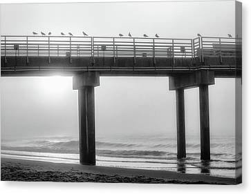 Canvas Print featuring the photograph Black And White Pier Alabama  by John McGraw