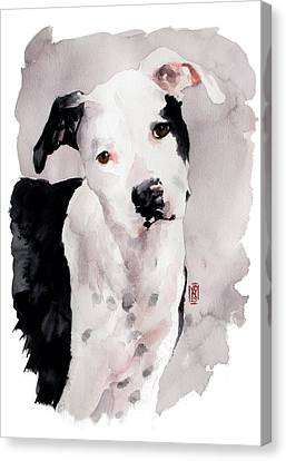 Black And White Pit Canvas Print by Debra Jones