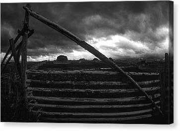 Black And White Pole Fence Cattle Gate Canvas Print by Jerry Voss