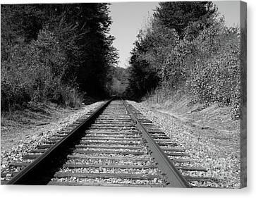 Black And White Railroad Canvas Print