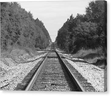 Black And White Railroad Track Canvas Print