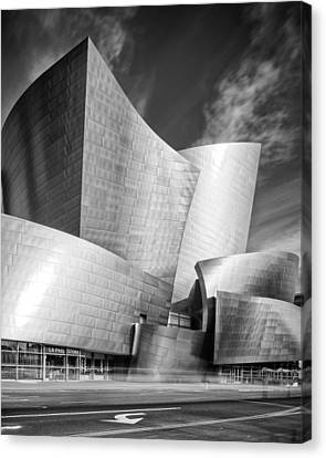 Black And White Rendition Of The Walt Disney Concert Hall - Downtown Los Angeles California Canvas Print by Silvio Ligutti