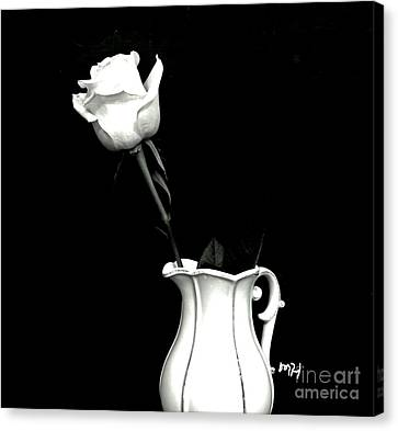 Canvas Print featuring the photograph Black And White Rose Three by Marsha Heiken