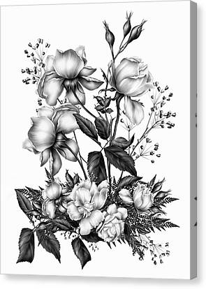 Black And White Roses On White Canvas Print