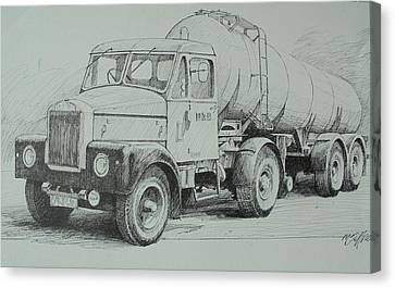 Canvas Print featuring the drawing Black And White Scammell. by Mike Jeffries