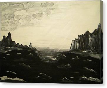 Black And White Seascape Canvas Print by Carmen Kolcsar