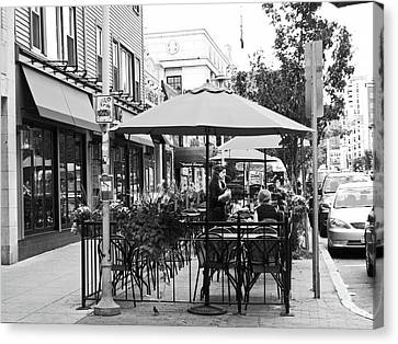 A Hot Summer Day Canvas Print - Black And White Sidewalk Cafe by Mary Ann Weger