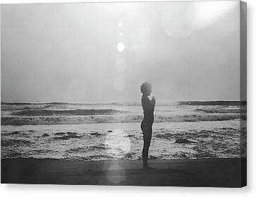 Srdjan Kirtic Canvas Print - Black And White Silhouette Of A Girl Practicing Yoga On The Beach By The Sea by Srdjan Kirtic