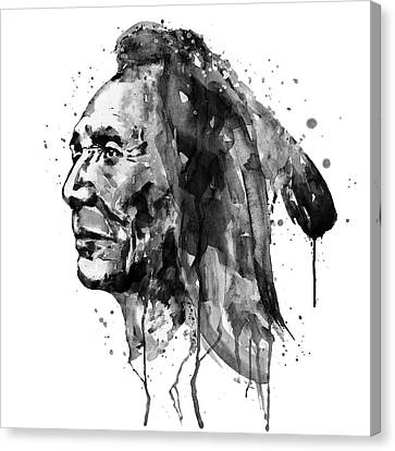 Black And White Sioux Warrior Watercolor Canvas Print by Marian Voicu