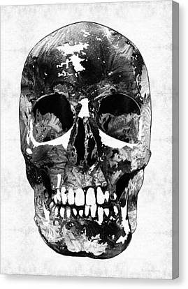 Black And White Skull By Sharon Cummings Canvas Print by Sharon Cummings