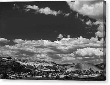 Black And White Small Town  Canvas Print