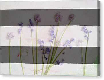 Black And White Stripes And Widlflowers Canvas Print by WALL ART and HOME DECOR