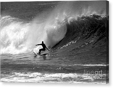 Black And White Surfer Canvas Print