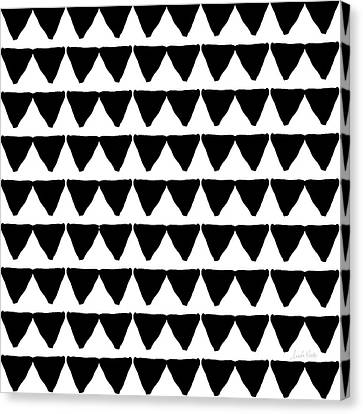 Black And White Triangles- Art By Linda Woods Canvas Print by Linda Woods