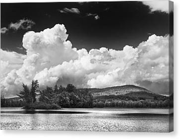 Black And White Vienna Maine Flying Pond With Storm Clouds Fine Art Print Canvas Print by Keith Webber Jr