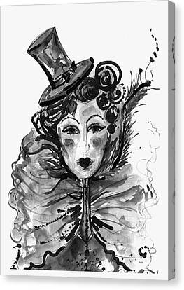 Black And White Watercolor Fashion Illustration Canvas Print by Marian Voicu