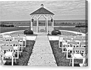 Black And White Wedding Canvas Print by Frozen in Time Fine Art Photography