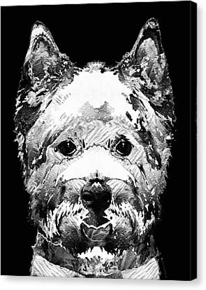 Westie Canvas Print - Black And White West Highland Terrier Dog Art Sharon Cummings by Sharon Cummings