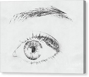 Abstract Digital Canvas Print - Black And White Woman Eye by Radu Bercan