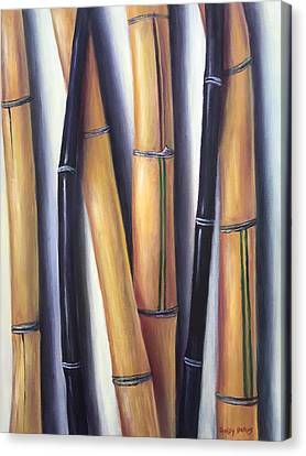 Canvas Print featuring the painting Black And Gold Bamboos by Randol Burns