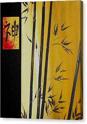 Canvas Print featuring the painting Black Bamboo Zen  by Dina Dargo